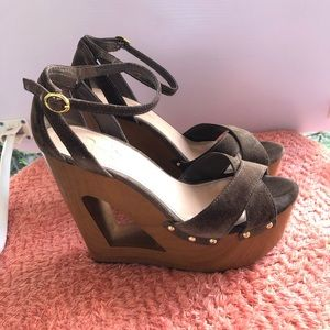 Jessica Simpson Wedge Sandal Brown Size 9